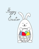 Funny easter bunny keeping a basket. Easter bunny holding a basket with easter eggs and handwritten headline `Happy Easter`. Illustration for greeting and Royalty Free Stock Images
