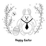 Funny Easter bunny and painted egg in hand-drawn style. Black and white easter card design template. Funny Easter bunny and painted egg in hand-drawn style Royalty Free Stock Photography