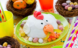 Funny Easter cake decorated sugar mastic Stock Photos