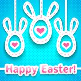 Funny easter card with big-eared eggs. Royalty Free Stock Photography