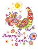 Funny easter card with decorative hen Royalty Free Stock Images