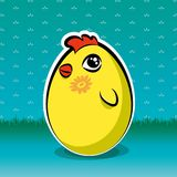 Funny easter chick, but is also yellow egg Royalty Free Stock Photo