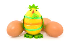Funny easter chick and brown eggs Royalty Free Stock Images