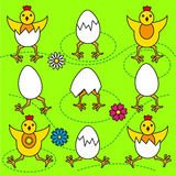Funny Easter chicks and eggs set  illustration Royalty Free Stock Photo