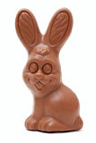 Funny Easter chocolate bunny on white background Royalty Free Stock Photography