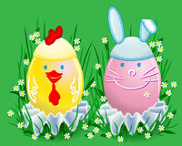 Funny Easter colored eggs Royalty Free Stock Photo