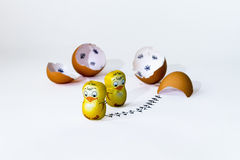 Funny Easter countdown with chocolate chickens-wishes Stock Photography