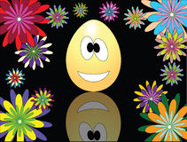 Funny Easter egg. The picture with an Easter egg and flowers Royalty Free Stock Images