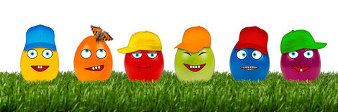 Funny easter egg row Stock Images