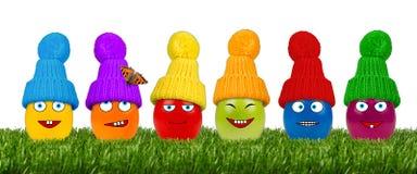 Funny easter egg row Stock Photos