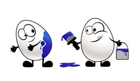 Funny easter eggs. Funny varicoloured smiling easter eggs Royalty Free Stock Photography