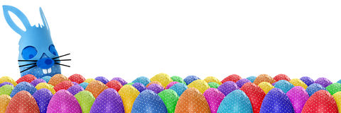 Funny Easter eggs banner stock photo