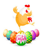 Funny Easter eggs with chicken. Royalty Free Stock Photos