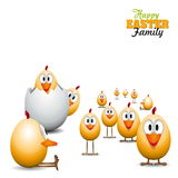 Funny Easter eggs chicks - background illustration - Happy easte Royalty Free Stock Images
