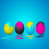 Funny Easter eggs - Cyan, magenta, yellow, black color - CMYK co Stock Photos