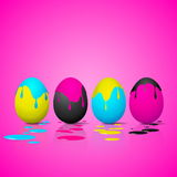 Funny Easter eggs - Cyan, magenta, yellow, black color - CMYK co Royalty Free Stock Images