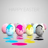 Funny Easter eggs, Cyan, magenta, yellow, black Stock Photo