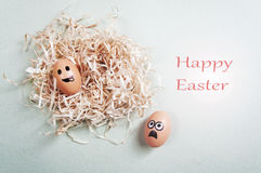 Funny Easter eggs with drawn faces depicting various emotions. Happy Easter Stock Images