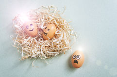 Funny Easter eggs with drawn faces depicting various emotions lying in nest.  Royalty Free Stock Photos