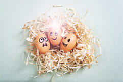 Funny Easter eggs with drawn faces depicting various emotions lying in nest.  Stock Photo