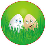 Easter eggs. Funny easter eggs in the grass stock illustration