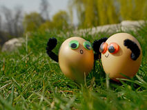 Funny easter eggs Stock Images