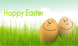 Funny Easter eggs. Holiday background with Easter eggs Stock Photo