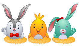 Funny easter eggs with rabbit ears in the nest. Illustration of Funny easter eggs with rabbit ears in the nest Royalty Free Stock Photo