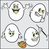 Funny -Easter- eggs, set 3 of 4. A set of four funny eggs -Easter- -happy, shy, doubt or suspicion, artist- on neutral gray background. This is the third of Royalty Free Stock Images