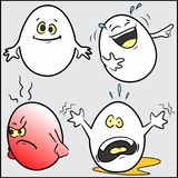 Funny -Easter- eggs, set 1 of 4. A set of four funny eggs -Easter- -smile, laugh, anger and panic- on neutral gray background. This is the first of four sets Royalty Free Stock Photos