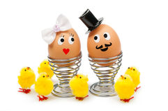 Funny easter eggs. On white royalty free stock images