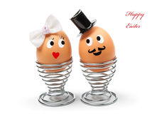 Funny easter eggs. On white background royalty free stock photos