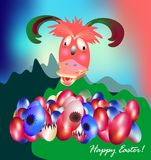 Funny Easter with funny creature and eggs Royalty Free Stock Photo