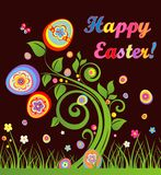 Funny easter greeting card with tree Royalty Free Stock Photography