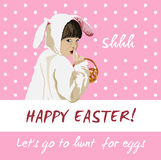 Funny easter holiday vector card. Bunny egg hunt Stock Photos
