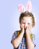 Surprised Easter Kid Looking Shocked Stock Photos