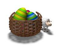 Funny easter postcard with colrful eggs and sheep Royalty Free Stock Photo