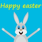 Funny easter rabbit. On blue background vector illustration Royalty Free Stock Images