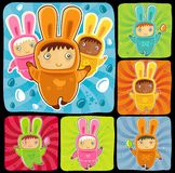 Funny easter rabbits Royalty Free Stock Photos