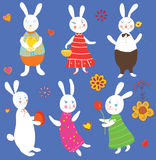 Funny easter rabbits set Royalty Free Stock Image