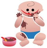 Funny eating. Isolated illustrated cartoon Royalty Free Stock Photography