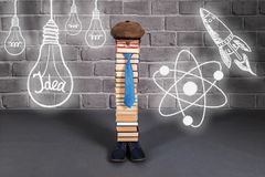 Funny education idea, man teacher with his ideas, aspirations an. D dreams stock image