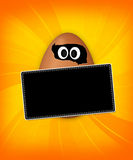 Funny Egg. With black billboard Stock Photos