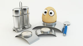 Funny egg as a cartoon 3d. Characters isolated over white Royalty Free Stock Photo