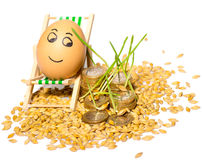 Funny egg and Stack of coins and rice seeds Stock Photography