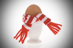 Funny egg with stripped scarf Stock Photo