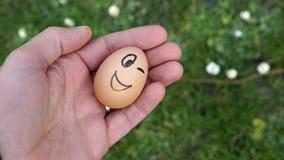 Funny Egg winks Royalty Free Stock Photo