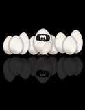 Funny Eggs on black background Royalty Free Stock Photography