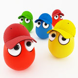 Funny eggs in cap as a cartoon Royalty Free Stock Photos