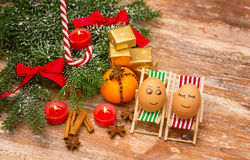 Funny Eggs, Christmas, Mandarin, Gift And Candles Royalty Free Stock Images